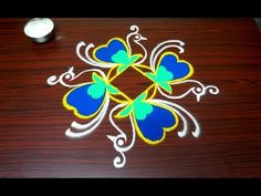 Birds kolam designs with 5x3 dots - simple rangoli art designs - creative muggulu designs for pongal - YouTube