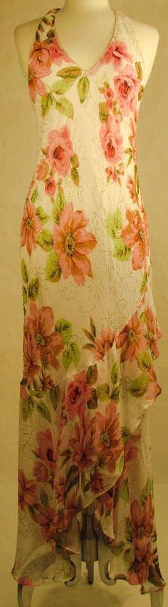 Newport News Long Floral Print Beaded Halter Dress with Ruffles: Size Small #NewportNews #AsymmetricalHem #Formal