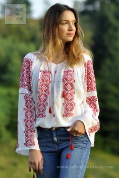 IA the Romanian Blouse. Here you can buy Romanian peasant blouses ie and folk costumes traditional clothes. Worldwide shipping for embroidered Romanian blouse Embroidered Clothes, Embroidered Blouse, Folk Fashion, Ethnic Fashion, Folk Clothing, Folk Costume, Peasant Blouse, Bohemian Style, Long Sleeve Shirts