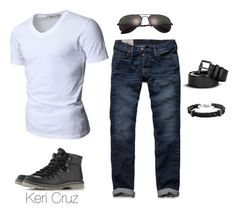 """""""Casual Men's Fashion"""" by keri-cruz ❤ liked on Polyvore featuring Doublju, Hollister Co., Topman, Burberry, Ray-Ban and Bernard James"""