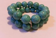 2 Strands Chunky Turquoise Bracelet choice of 16mm by kikaystore, $14.20