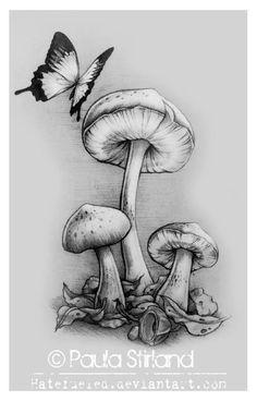 butterflies with mushroom tattoos | Back Shoulder Mushroom Tattoo For Girls
