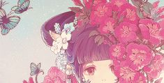 art girl anime flower Chinese over1k riemi •