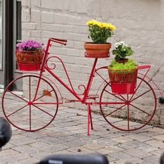Bicycle Plant Stand Red Metal Outdoor Indoor Porch Patio Flowers Yard Decor New Flower Cart, Flower Pots, Flowers, Flower Baskets, Lawn And Garden, Garden Art, Spring Garden, Garden Design, Wallpaper B