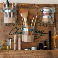 6 weekend woodworking projects for beginners: Beautiful Beauty-Product Storage. Put your love of Mason jars to good use to de-clutter your bathroom. You can sort your makeup brushes, perfume bottles, lipstick, and other small products with this easy DIY storage unit. Get the how-to VIA @blahblahzine