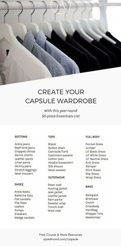 Build Your Capsule Wardrobe: The Year Round Essentials List — get the free e-course and more printable resources at ajaedmond.com/capsule | minimalist wardrobe | minimalist style