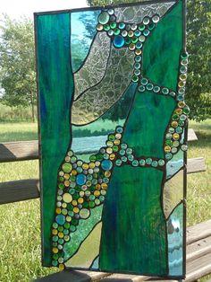 Stained Glass Abstarct Transom Window Suncatcher door HelioGlass