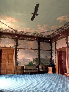 Decorative painted walls & ceiling ~ Fugleværelset, the Royal Palace in Oslo, Norway