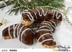 Čokoládové rohlíčky II. recept - TopRecepty.cz Czech Recipes, Ethnic Recipes, Graham Crackers, Christmas Cookies, Sushi, Sausage, Meat, Food, Advent
