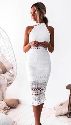 a2ae105ecae  summer  outfits white sleeveless mid dress. Летняя Одежда В Повседневном  Стиле
