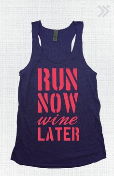 Navy/Coral Run Now Wine Later Eco Tank by everfitte on Etsy