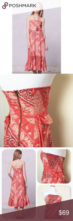 Amazing bandana strapless dress by Holding Horses This cotton dress by Holding Horses has beautiful detail.  Little peplum flares with lacing at the sides of the waist and wide ruffle hem add a super feminine twist on the rustic  bandana print. Smocked back with exposed zipper and side pockets! Excellent condition. Anthropologie Dresses Midi