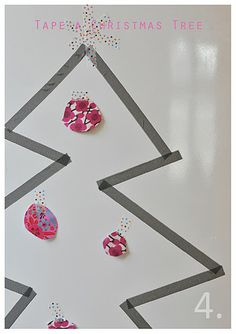tape christmas tree and 24 advent days of  crafts on this adorable blog
