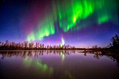 The aurora borealis swirls over the Knik River near Palmer, Alaska. Alaska Northern Lights, See The Northern Lights, Aurora Borealis, World's Most Beautiful, Beautiful Places, Beautiful Sites, Amazing Places, Romantic Nature, France