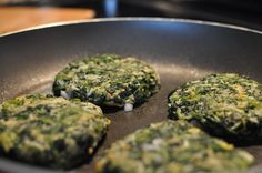 Spinach Burgers 1 bag of thawed and well drained chopped spinach 2 egg whites 1 whole egg 1/4 c diced onion 1/2 c shredded cheese 1/2 c bread crumbs 1 tsp red pepper flakes 1 tsp salt 1/2 tsp garlic powder Mix well in a bowl