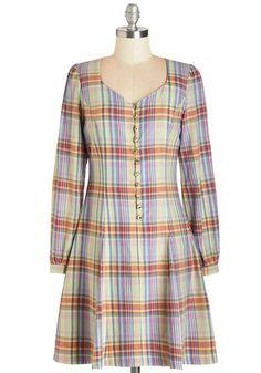 Prizewinning Fiction Dress - Mid-length, Cotton, Woven, Multi, Plaid, Buttons, Casual, A-line, Long Sleeve, Better