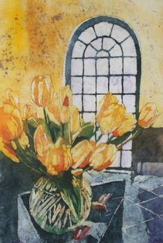 Watercolor batik on rice paper, this painting was painted from a photo I took in the gift shop at the elizabethan gardens in Manteo NC. They were fresh picked beautiful yellow tulips. Silk Painting, Painting Flowers, Batik Art, Paintings I Love, Mellow Yellow, Rice Paper, Art Tutorials, Painting Inspiration, Textile Art