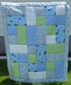 Blue and Green Elephants and Alphabet Baby Boy Quilt