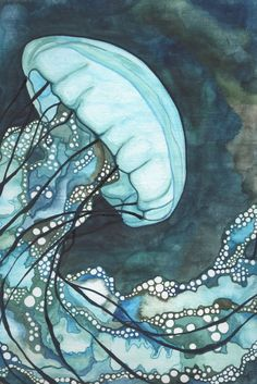 Aqua Sea Nettle Jellyfish 4 x 6 print of detailed hand painted watercolour artwork floating in whimsical blue green turquoise earth tones. $5.00, via Etsy.