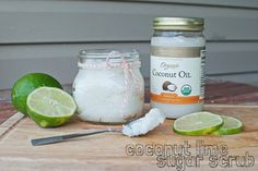 Coconut Lime Sugar Scrub via Little Bits Did coconut ginger scrub recently and loved it.