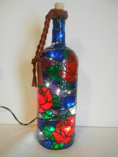 Lighted Handpainted Wine Bottle Pretty Roses Inspired Stained Glass look by HillysBoutique on Etsy