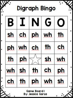 Digraph Bingo by The Primary Parade First Grade Reading Games, First Grade Phonics, First Grade Activities, Phonics Reading, Teaching Reading, Phonics Blends, Blends And Digraphs, Phonetic Chart, Japanese Language