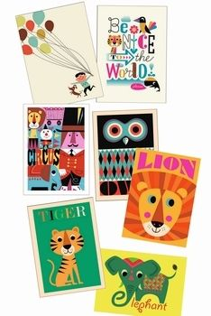 7 favorite #prints by #Ingela P #Arrhenius from www.kidsdinge.com #lion #tiger #elephant https://www.facebook.com/pages/kidsdingecom-Origineel-speelgoed-hebbedingen-voor-hippe-kids/160122710686387?sk=wall