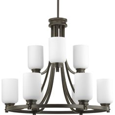 "$812.50  9-Lt. (6+3) Chandelier 27"" wide 23.75"" tall, chain mount included"