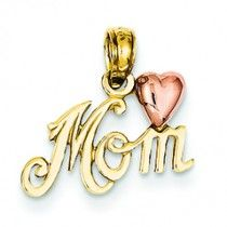 14K Gold Two-Tone Polished Mom with Heart Pendant
