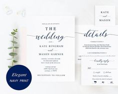 This listing is editable/printable Wedding Invitation Set that includes invitation card, details card, rsvp card and monogram tag! These are instant download printable wedding invitation templates - editable PDF templates. You can edit the text/wording and the font, style, size, line-spacing or color, print, trim to create your cards as many as you wish! VERY EASY to customize!! Perfect for DIY wedding cards with modern calligraphy design!    • • • W H A T ' S • I N C L U D E D • • ...