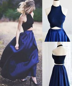 Simple dark blue two pieces long prom dress for teens, evening dress, modest prom dress long