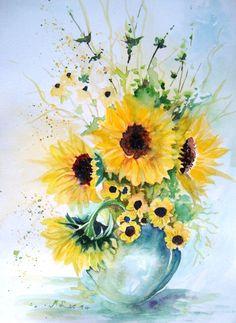 Vase of sunflowers - watercolor by Maria Leonarda Ascencio