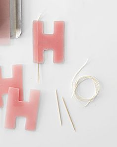 """Spell out your feelings for your Valentine with these easy-to-make Cutout Letter Candles"". Or spell out Olive's name for her next birthday cake Crafty Craft, Crafty Projects, Diy Projects To Try, Bougie Candle, Do It Yourself Inspiration, Diy Inspiration, Birthday Cake With Candles, Diy Candles, Homemade Candles"