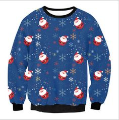 Santa Claus all over in blue is a cute UGLY CHRISTMAS SWEATER Christmas  Sweaters For Women c0468637d