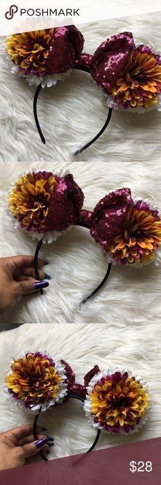 Disney Mickey Minnie Ears- Whiteberry w/ Bry Seq Custom handmade ears perfect for your next trip to the Disney parks. These light floral transition ears are complimented with a berry sequin bow perfect for the fall season or the girl who just loves burgundy/ berry/ wine. Accessories