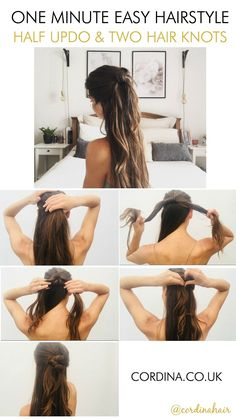 Single Post quick easy hairstyles for long medium hair, half updo knot Night Out Hairstyles, Going Out Hairstyles, Bobby Pin Hairstyles, Work Hairstyles, Easy Hairstyles For Long Hair, Elegant Hairstyles, Headband Hairstyles, Step Hairstyle, Hairstyle Tutorials