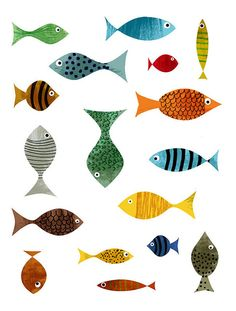Red fish blue fish every color fish Art Fish Art, Animal Art, Glicee Prints, Fine Art Paper, Fish Illustration, Painting, Illustration Art, Art, Prints