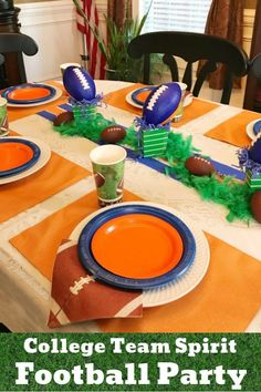 Our Blue and Orange Football Party Tablescape is designed in Auburn colors! Fall Decor simply must include some football spirit at our house! Sports Theme Birthday, Teen Birthday, Birthday Party Themes, Teen Boy Party, Teenager Party, Birthday Table, Party Table Decorations, Sports Party, Grad Parties