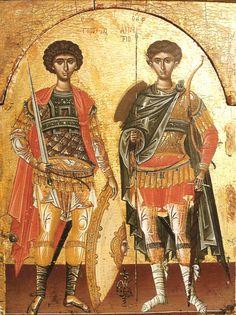 Sts Georgios and Demetrios. 1st half of the 16th c. Theophanes the Cretan (Theophanes Strelitzas aka Bathas). Megisti Lavra monastery, Mt Athos, Greece.