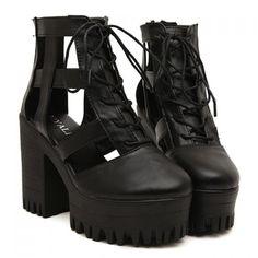 Fashionable Black and Openwork Design Platform Shoes For Women, BLACK, 39 in Platform | DressLily.com