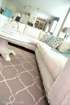 make a dropcloth sofa sectional slipcover