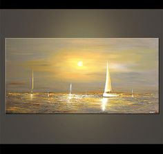48 x 24 Gray Sailboat Painting Abstract Seascape by OsnatFineArt, $659.00