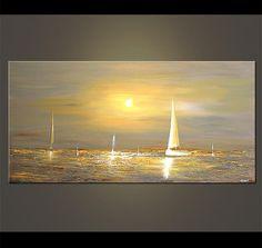 """48 """"x 24"""" peinture gris Voilier Résumé Seascape Peinture acrylique originale par Osnat - fait sur commande"""