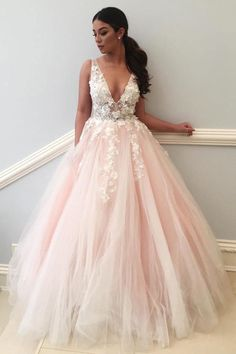 Sexy Lace Applique Pale Pink Ball Gown Long V Neck Tulle Evening Prom Dresses Prom Dresses Lace, Ball Gown Prom Dresses, Prom Dresses Pink, Prom Dresses, V Neck Evening Dresses Prom Dresses 2019 Blush Pink Prom Dresses, V Neck Prom Dresses, Ball Gowns Prom, Tulle Prom Dress, Cheap Prom Dresses, Ball Dresses, Sexy Dresses, Lace Dress, Wedding Dresses