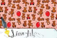 Seamless texture with teddy bears. Patterns