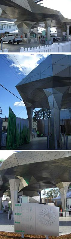 A design firm of Boston has created this unique gas station in Los Angeles