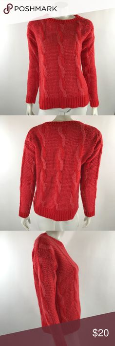 Sparkle Fade Sweater Med Coral Orange Pink Cable Sparkle Fade Womens Sweater Size Medium Coral Orange Pink Cable Knit Pullover. Measurements: (in inches) Underarm to underarm: 19.5 Length: 24.5  Good, gently used condition Urban Outfitters Sweaters Crew & Scoop Necks
