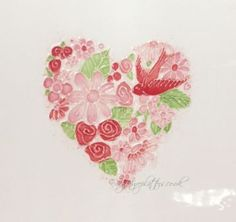 Heart Flower Posy \Pink Red