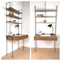 Omnia Shelving system with desk from the mid century Desk Wall Unit, Shelf Board, Frankfurt, Large Drawers, How To Level Ground, Closed Doors, Bookshelves, Interior Design, Interior Ideas