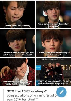 I am so proud of them~ You worked so hard, you totally deserve this award and i think that you deserve so many other things~❤I cant even explain how much happy you make me feel~Thank you so much Bangtan~ Lets keep going like this, There's still a lot out there waiting for you~❤